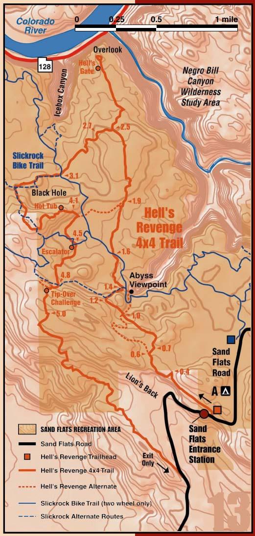 Hell's Revenge Free  Trail Map