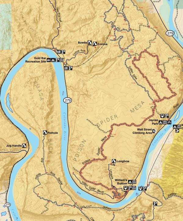 Poison Spider Mesa Trailhead Map