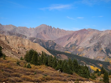 Pearl Pass Trail as seen from Taylor Pass trail in Colorado